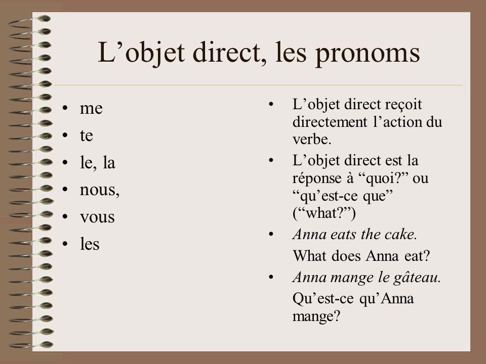 L'objet direct, les pronoms