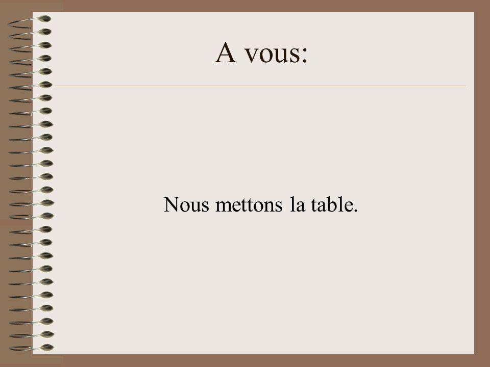 A vous: Nous mettons la table.