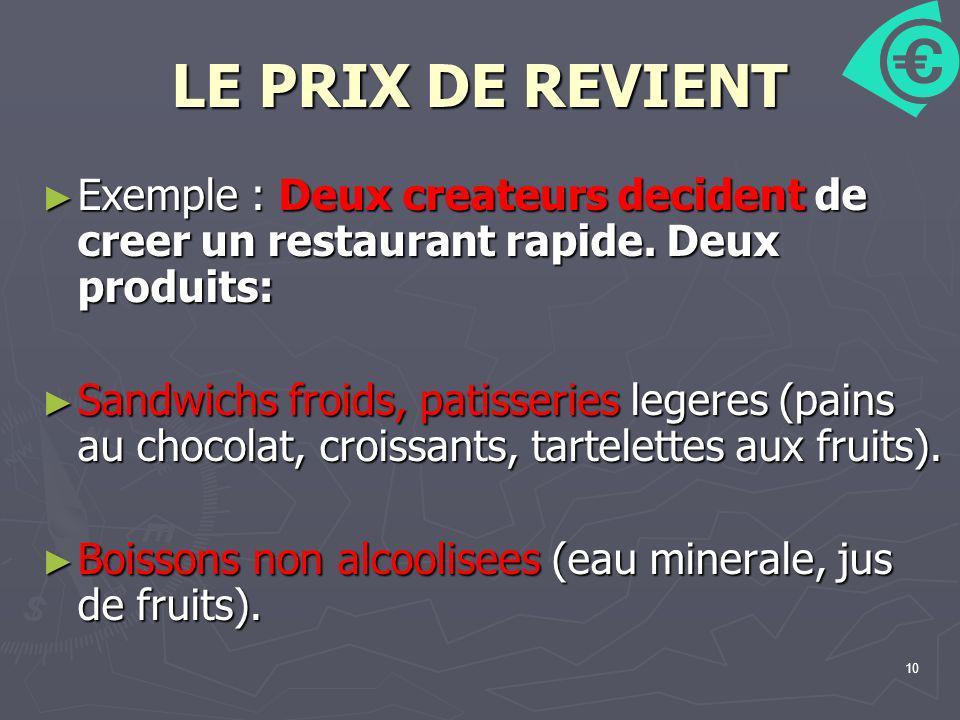 LE PRIX DE REVIENT Exemple : Deux createurs decident de creer un restaurant rapide. Deux produits: