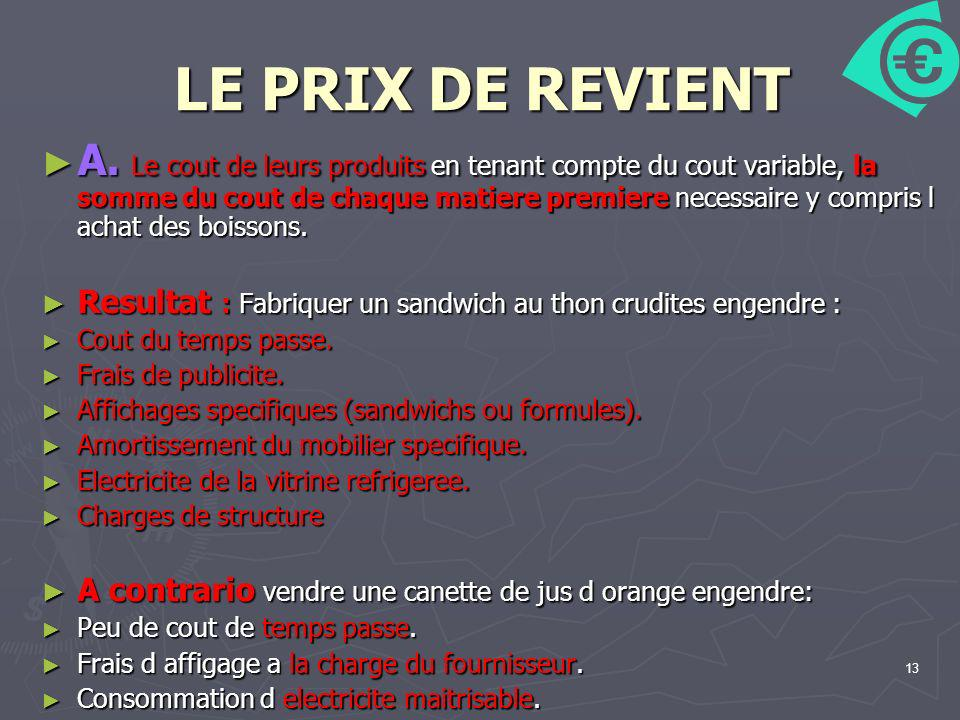 LE PRIX DE REVIENT