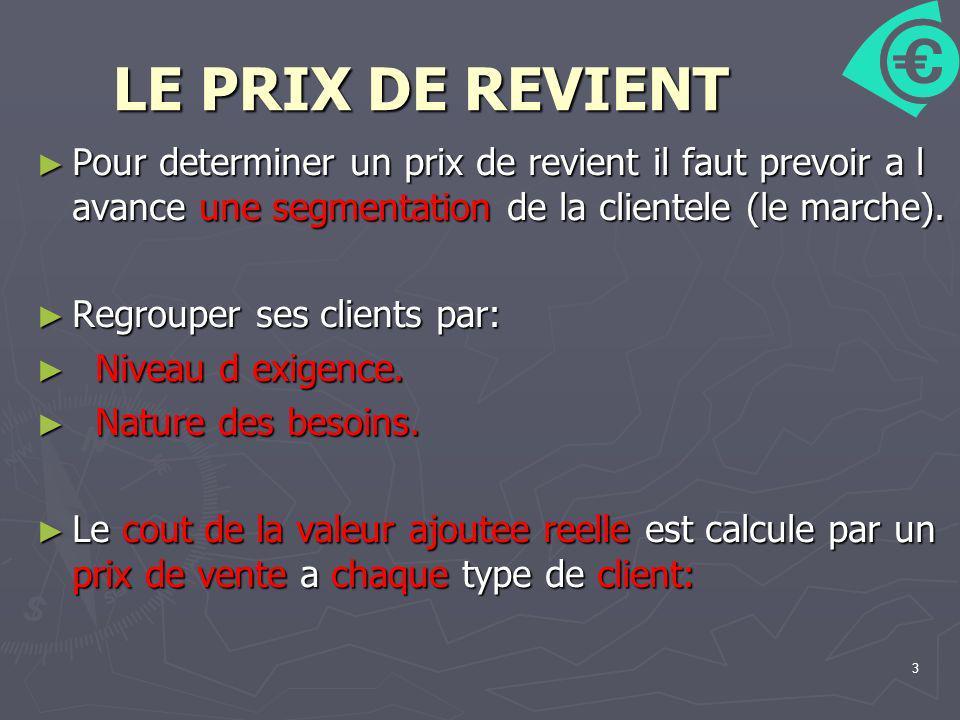 LE PRIX DE REVIENT Pour determiner un prix de revient il faut prevoir a l avance une segmentation de la clientele (le marche).
