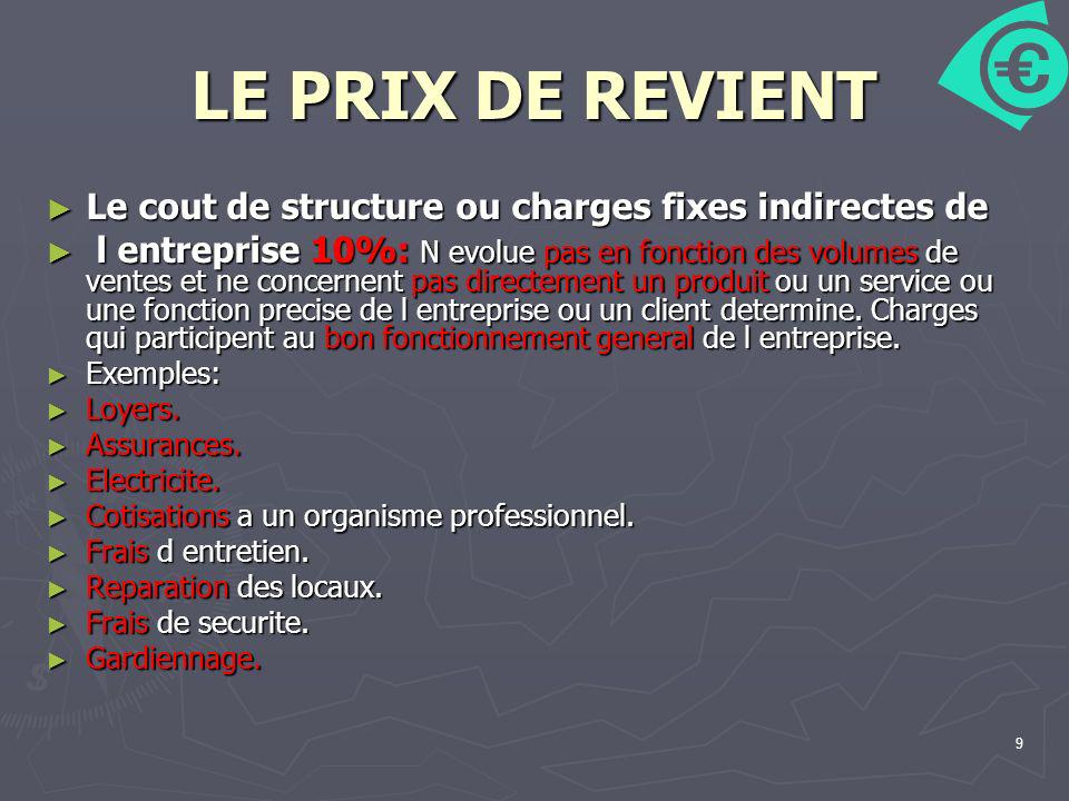 LE PRIX DE REVIENT Le cout de structure ou charges fixes indirectes de