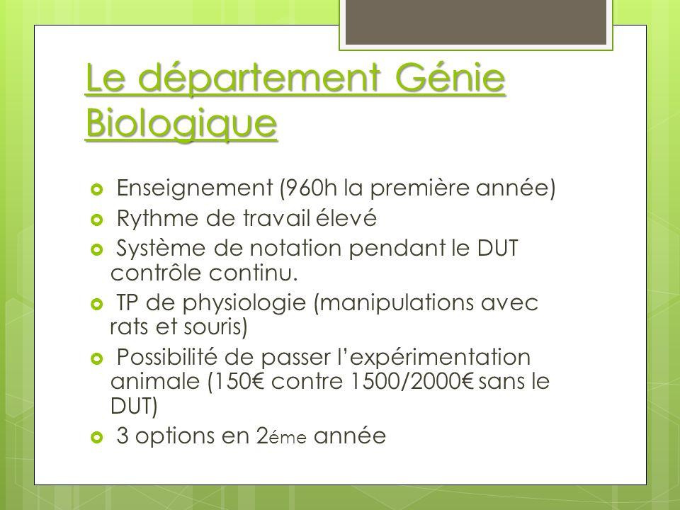 Le département Génie Biologique