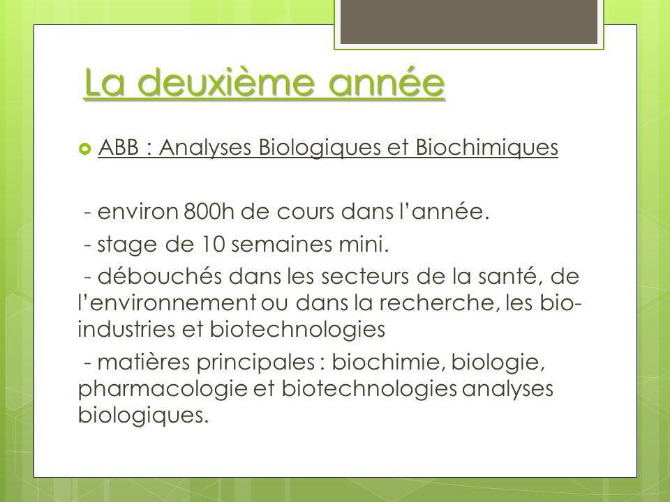 La deuxième année ABB : Analyses Biologiques et Biochimiques