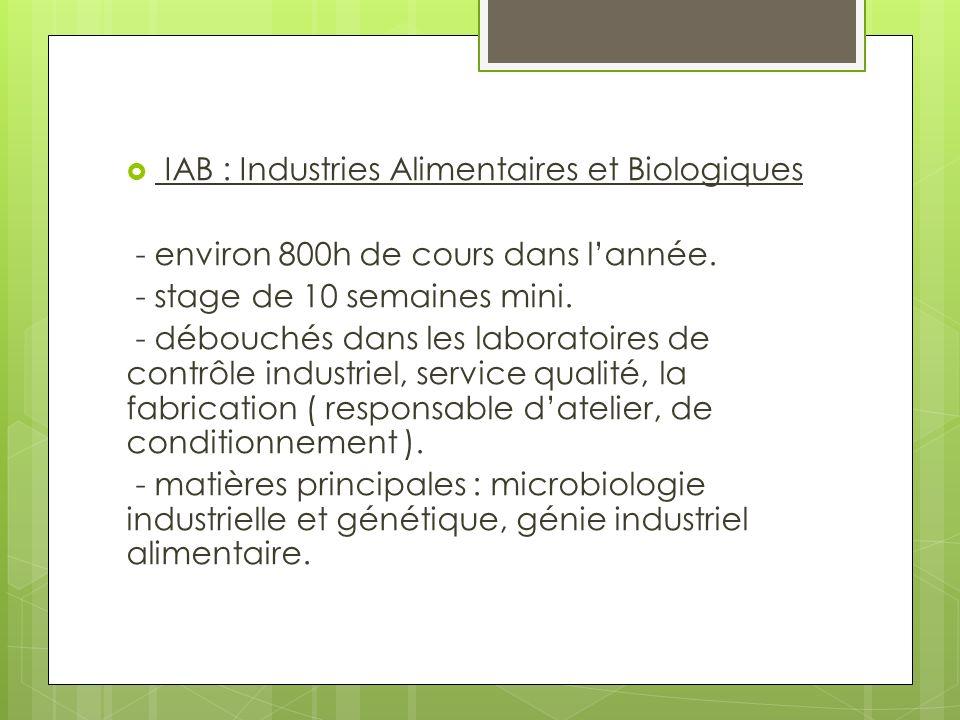 IAB : Industries Alimentaires et Biologiques