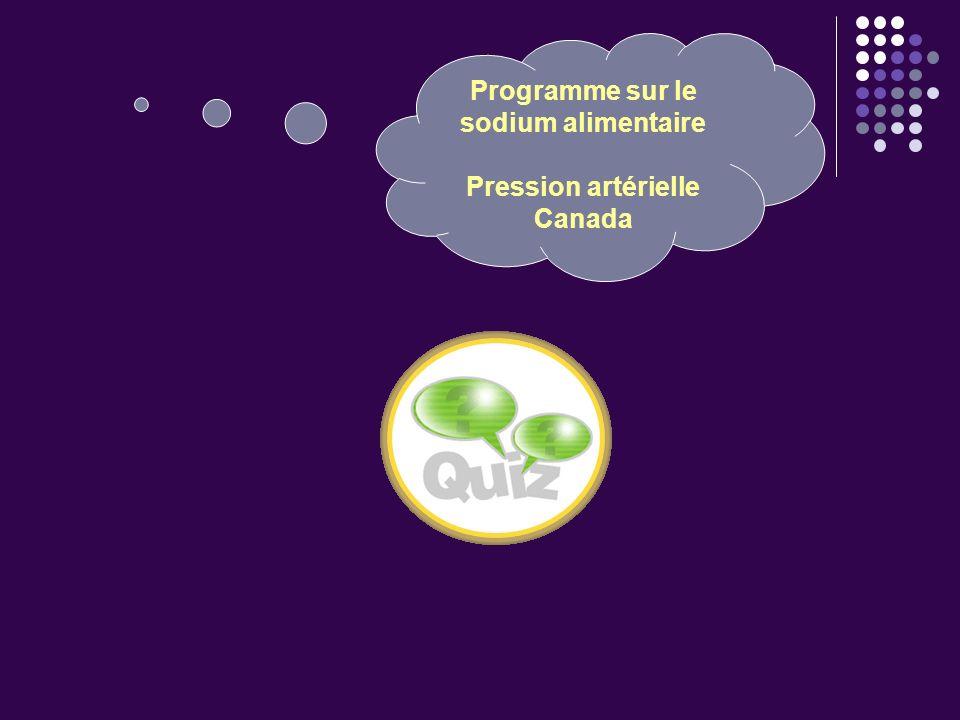 Programme sur le sodium alimentaire Pression artérielle Canada