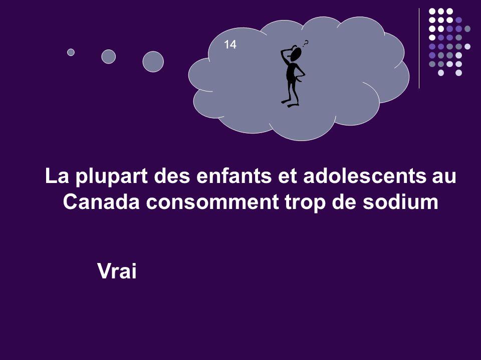 14 La plupart des enfants et adolescents au Canada consomment trop de sodium. Question 14. VRAI.