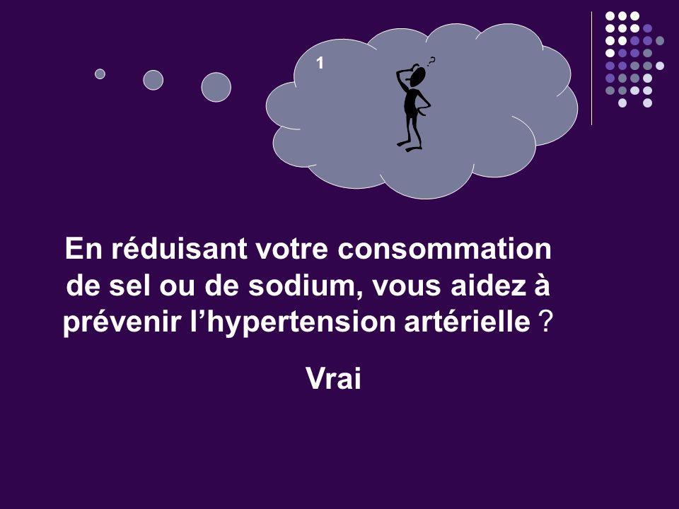 1 En réduisant votre consommation de sel ou de sodium, vous aidez à prévenir l'hypertension artérielle