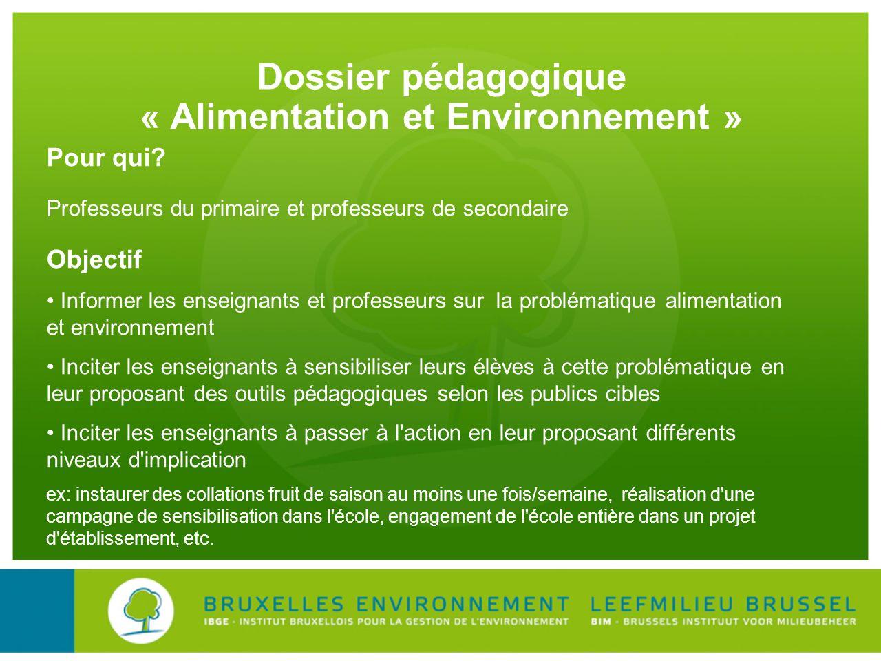 Dossier pédagogique « Alimentation et Environnement »