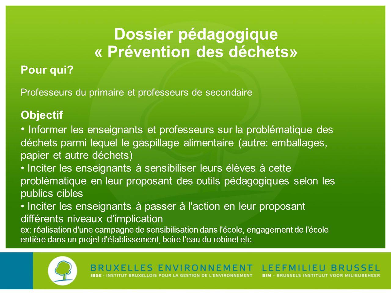 Dossier pédagogique « Prévention des déchets»