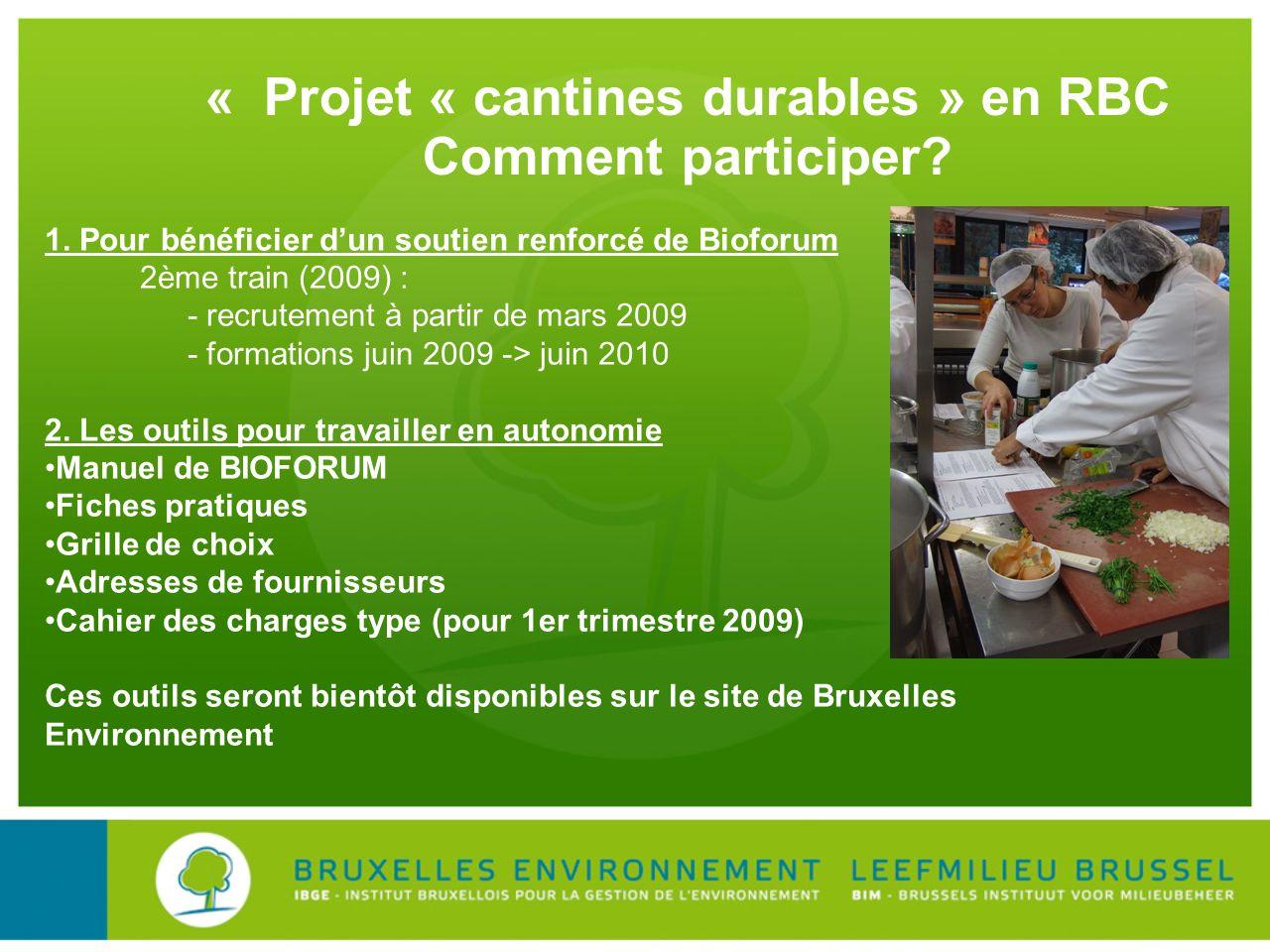 « Projet « cantines durables » en RBC Comment participer