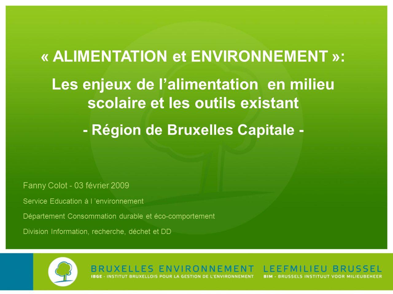 « ALIMENTATION et ENVIRONNEMENT »: