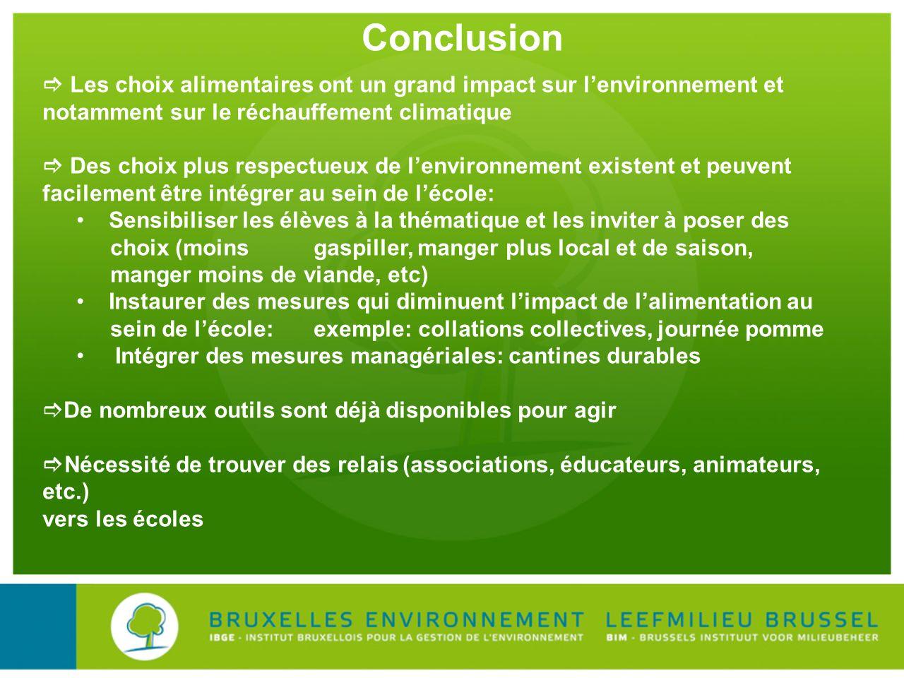 Conclusion  Les choix alimentaires ont un grand impact sur l'environnement et notamment sur le réchauffement climatique.