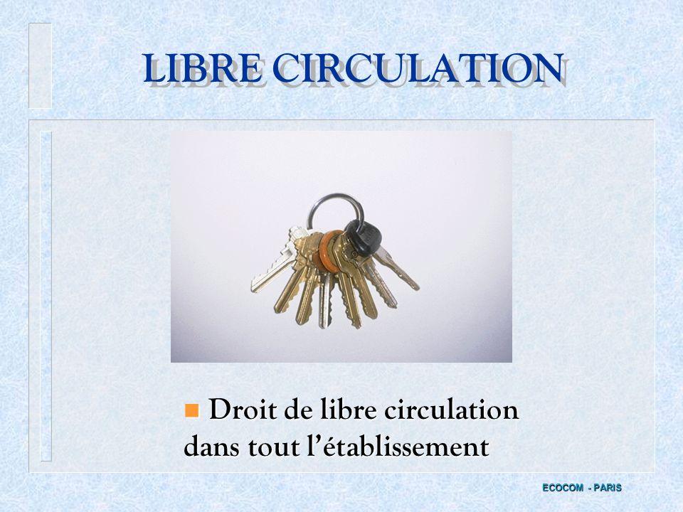 LIBRE CIRCULATION Droit de libre circulation dans tout l'établissement