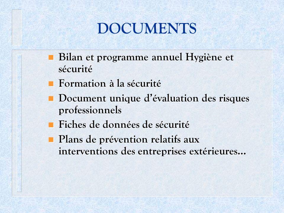 DOCUMENTS Bilan et programme annuel Hygiène et sécurité