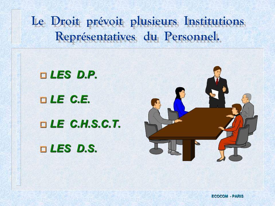 Le Droit prévoit plusieurs Institutions Représentatives du Personnel.