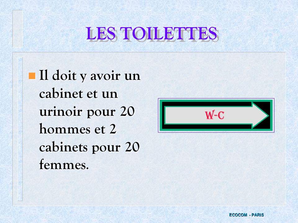 LES TOILETTES Il doit y avoir un cabinet et un urinoir pour 20 hommes et 2 cabinets pour 20 femmes.