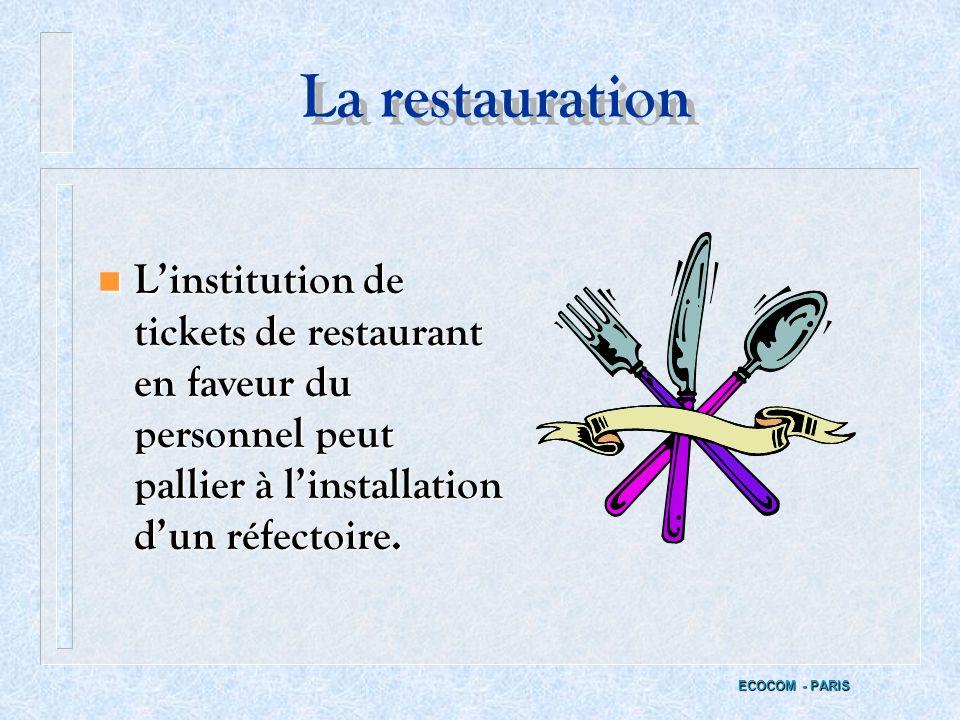 La restauration L'institution de tickets de restaurant en faveur du personnel peut pallier à l'installation d'un réfectoire.