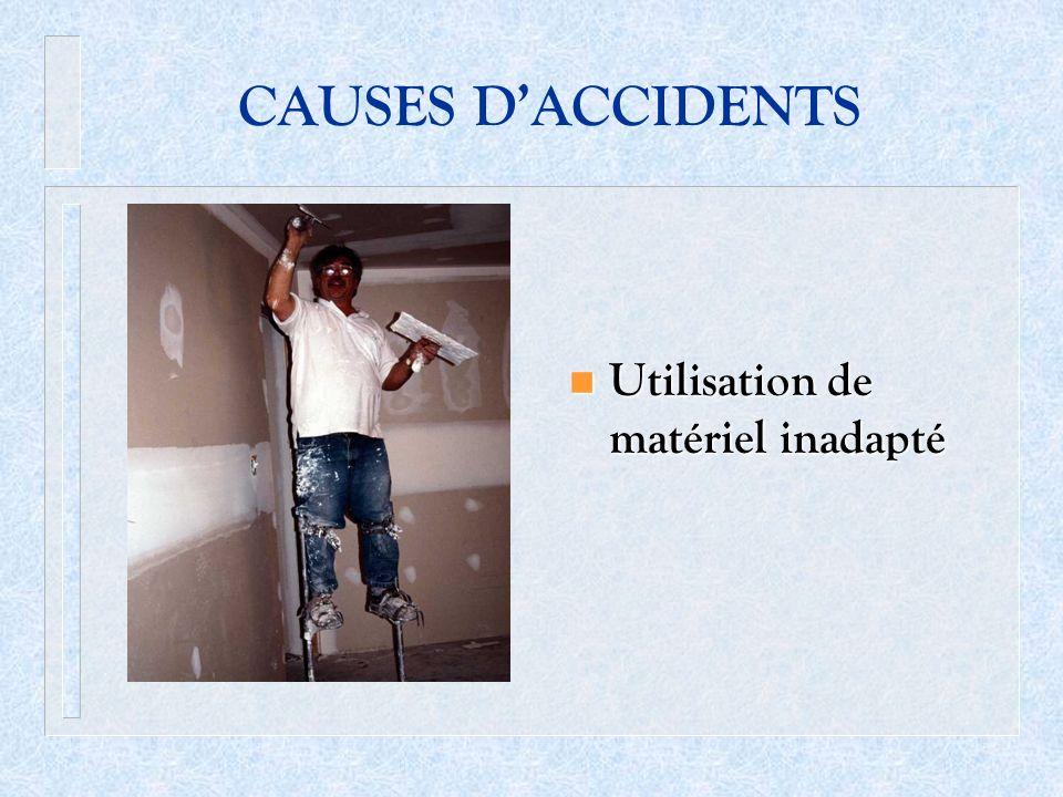 CAUSES D'ACCIDENTS Utilisation de matériel inadapté