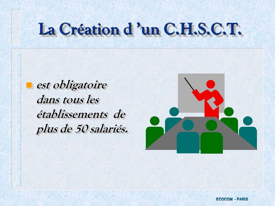 La Création d 'un C.H.S.C.T. est obligatoire dans tous les établissements de plus de 50 salariés.