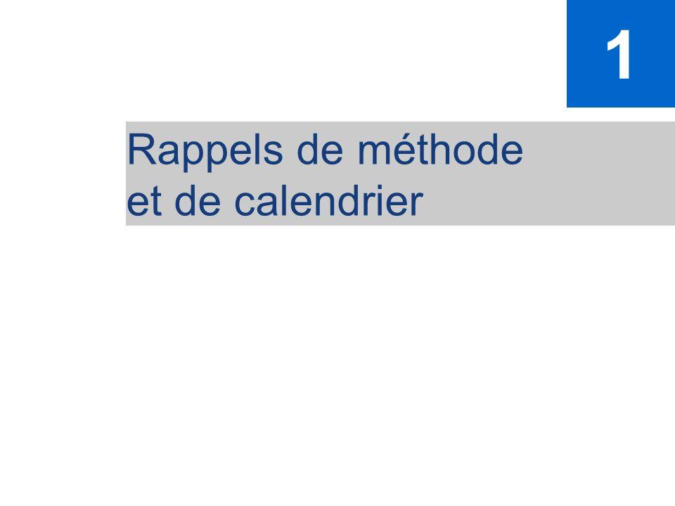 1 Rappels de méthode et de calendrier