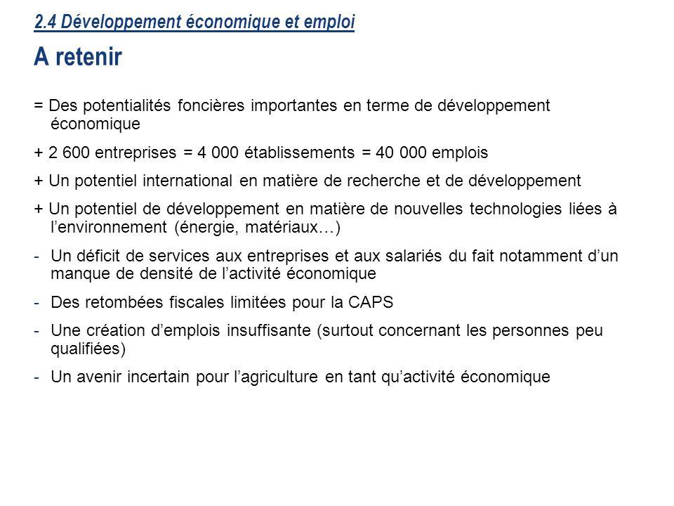 2.4 Développement économique et emploi A retenir