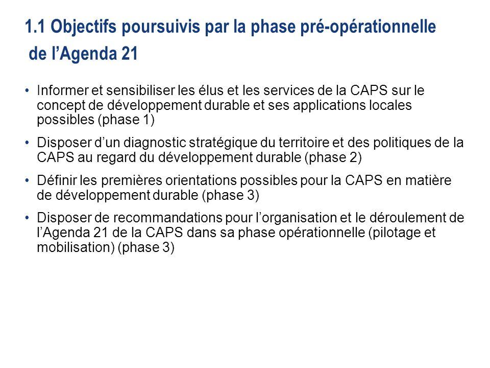 1.1 Objectifs poursuivis par la phase pré-opérationnelle de l'Agenda 21