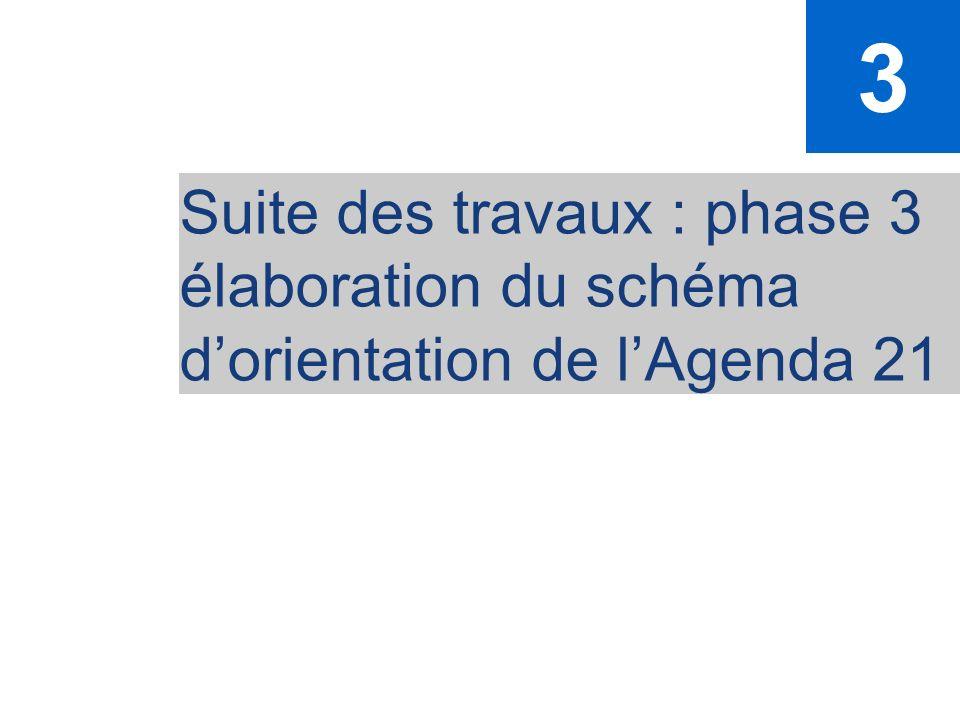 3 Suite des travaux : phase 3 élaboration du schéma d'orientation de l'Agenda 21