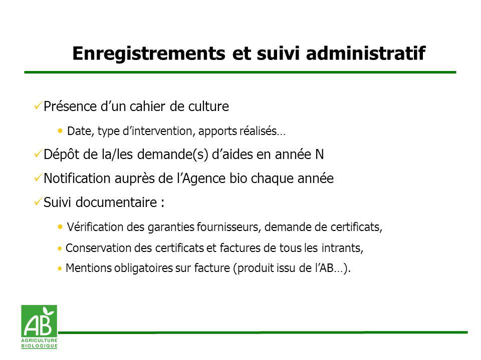 Enregistrements et suivi administratif