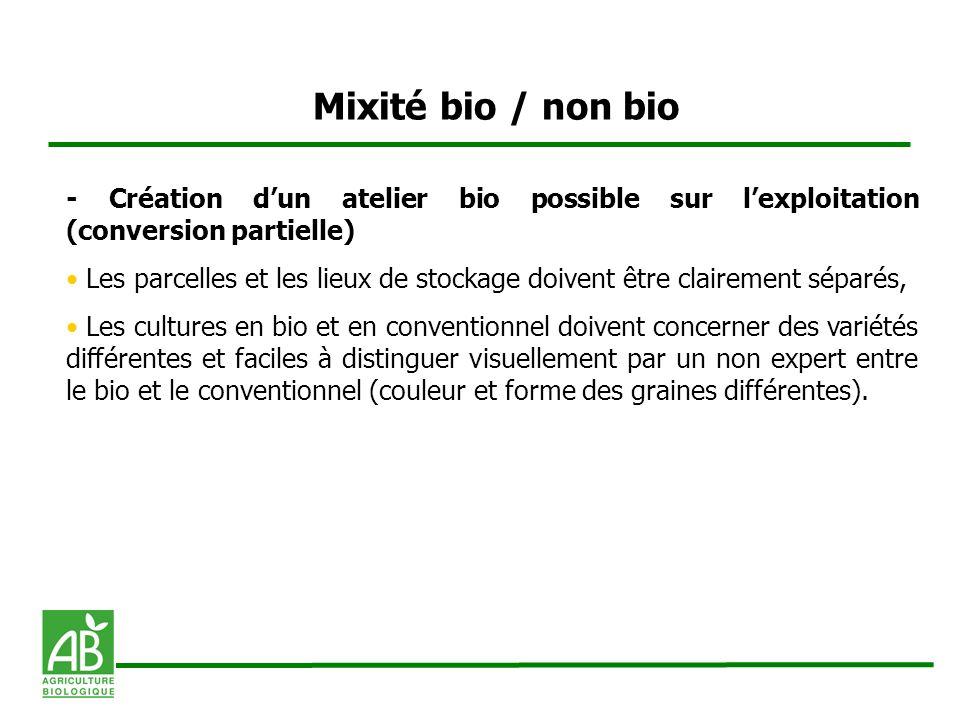 Mixité bio / non bio - Création d'un atelier bio possible sur l'exploitation (conversion partielle)