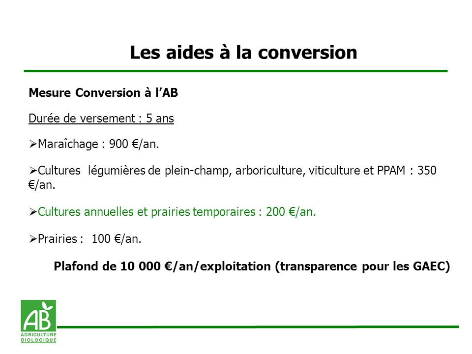 Les aides à la conversion