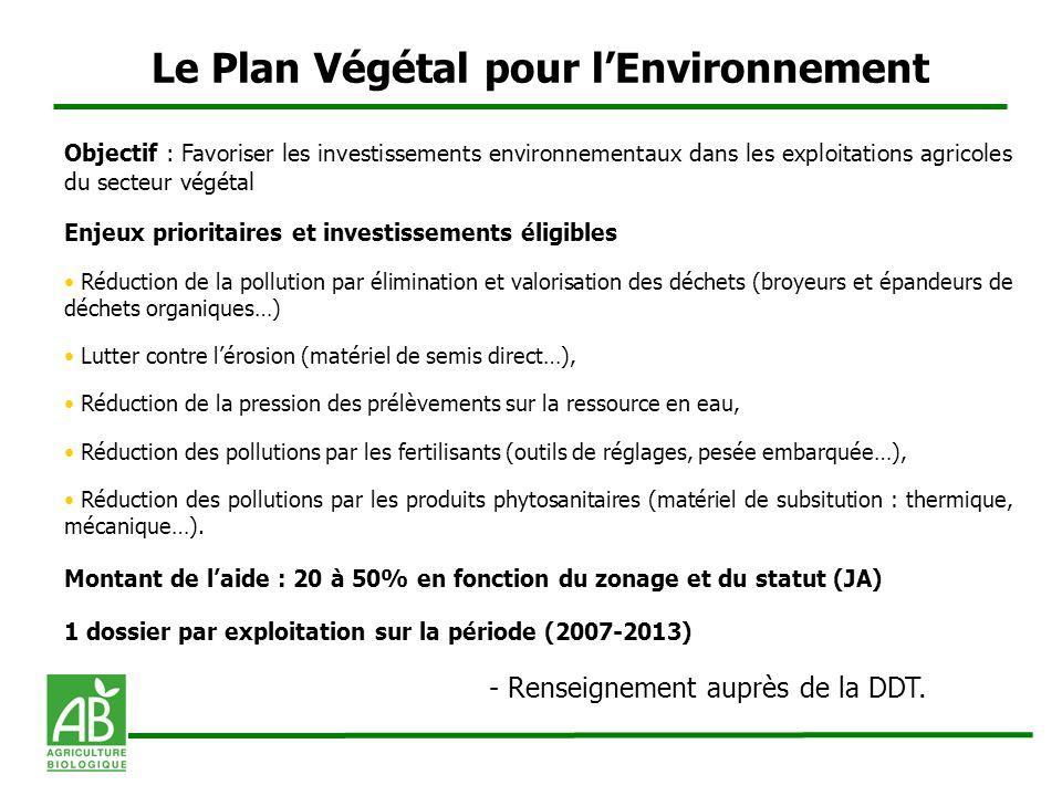 Le Plan Végétal pour l'Environnement