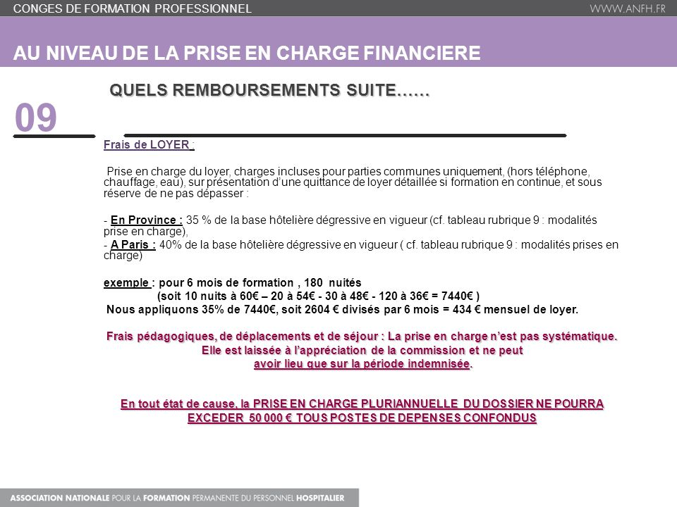 AU NIVEAU DE LA PRISE EN CHARGE FINANCIERE