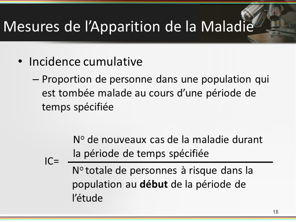 Mesures de l'Apparition de la Maladie