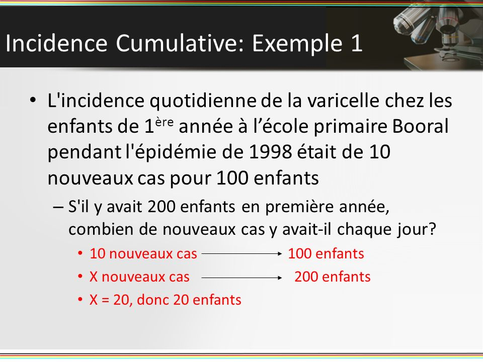 Incidence Cumulative: Exemple 1
