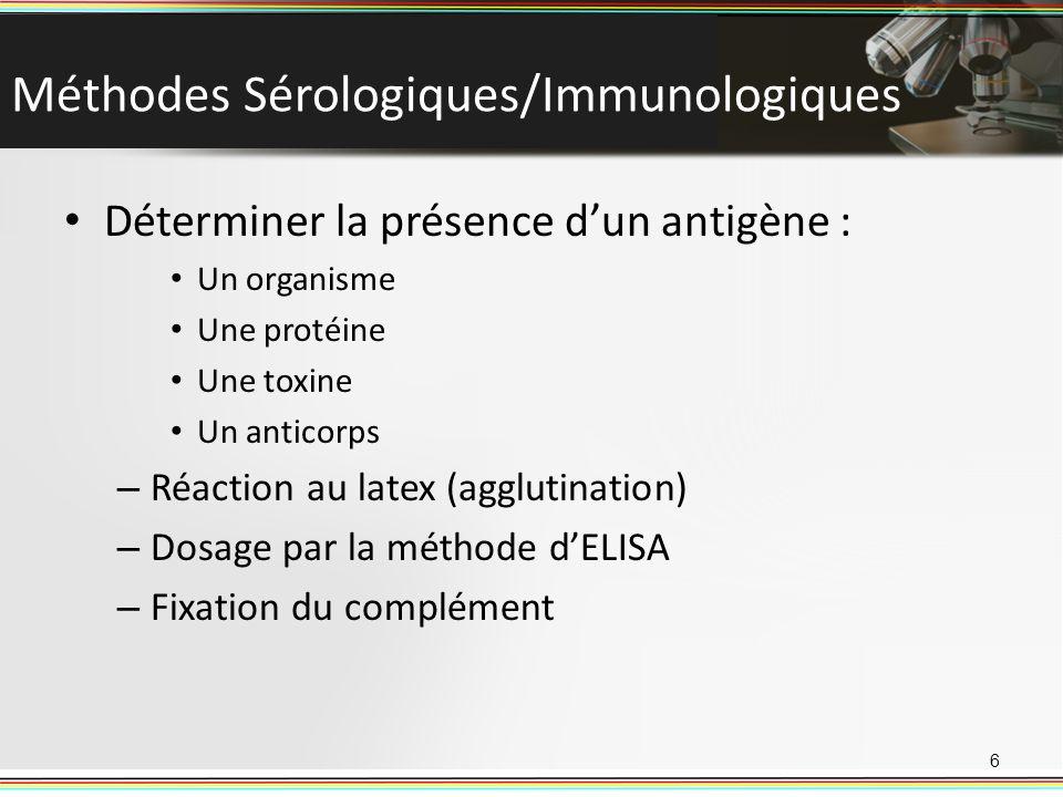Méthodes Sérologiques/Immunologiques