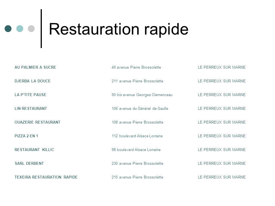 Restauration rapide AU PALMIER A SUCRE 49 avenue Pierre Brossolette