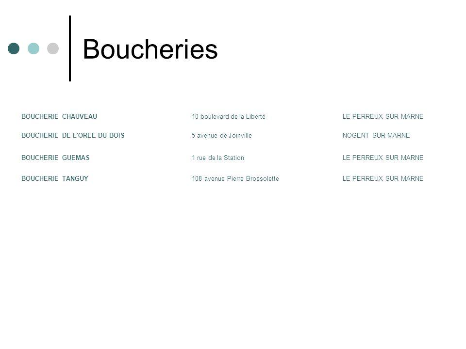 Boucheries BOUCHERIE CHAUVEAU 10 boulevard de la Liberté