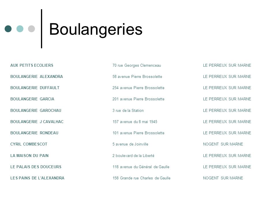 Boulangeries AUX PETITS ECOLIERS 70 rue Georges Clemenceau