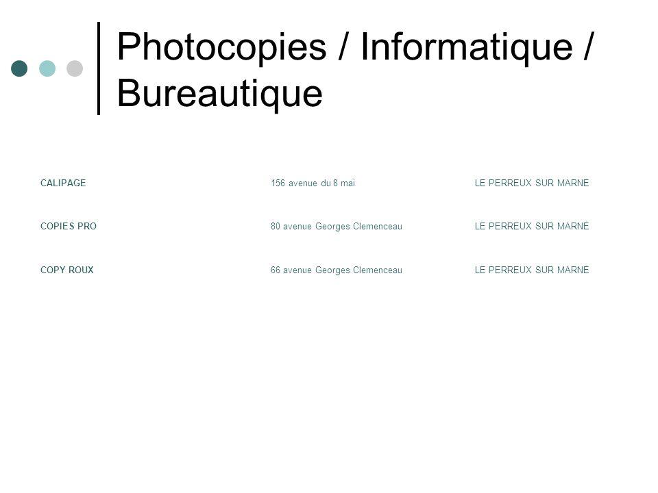 Photocopies / Informatique / Bureautique