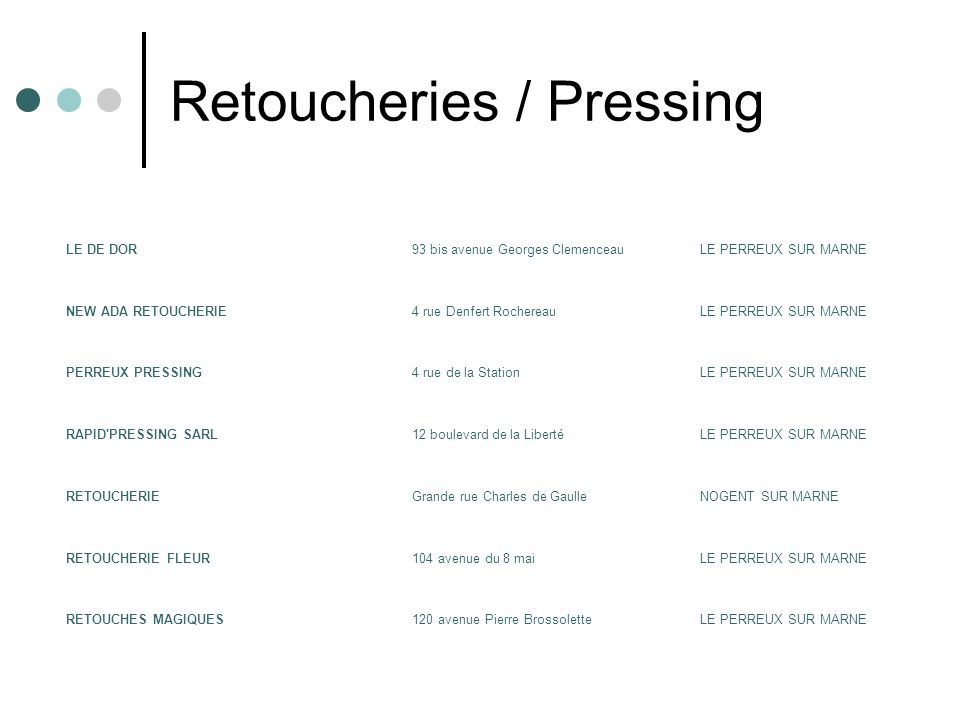Retoucheries / Pressing
