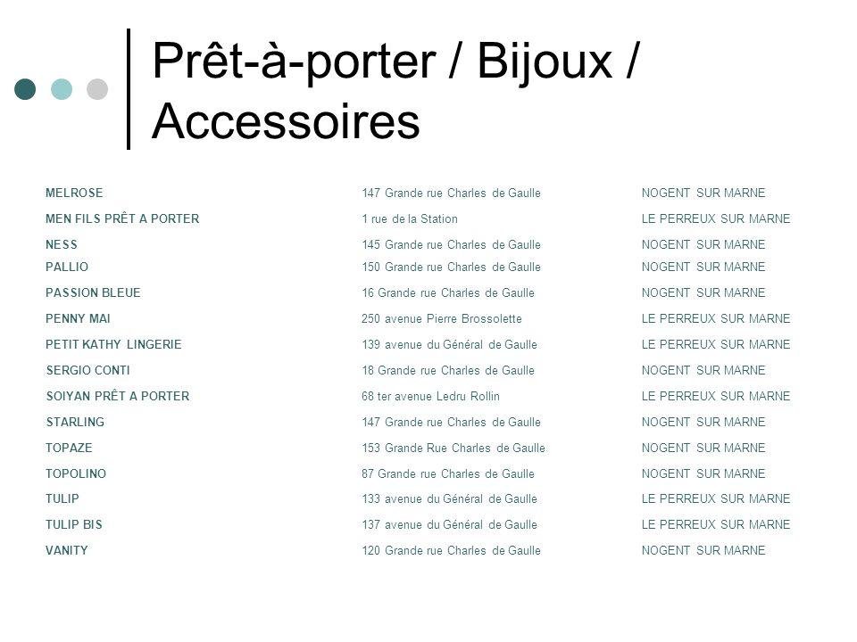 Prêt-à-porter / Bijoux / Accessoires