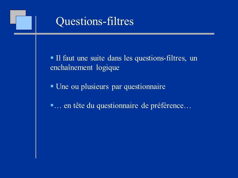 Questions-filtres Il faut une suite dans les questions-filtres, un enchaînement logique. Une ou plusieurs par questionnaire.