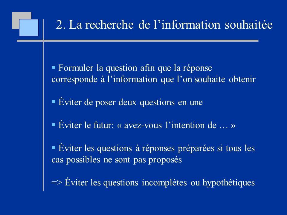 2. La recherche de l'information souhaitée
