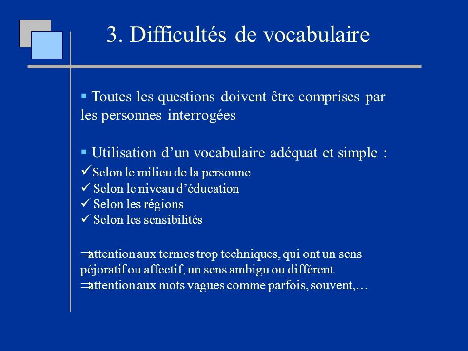 3. Difficultés de vocabulaire