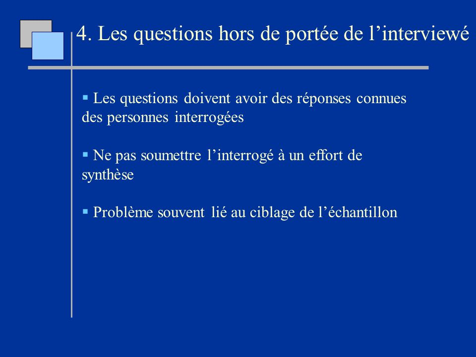 4. Les questions hors de portée de l'interviewé