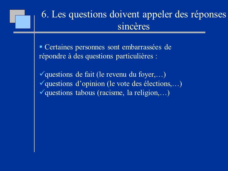 6. Les questions doivent appeler des réponses sincères