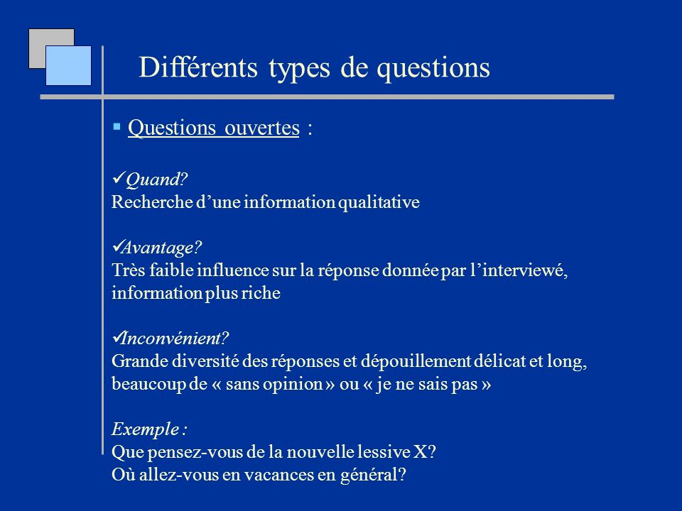 Différents types de questions