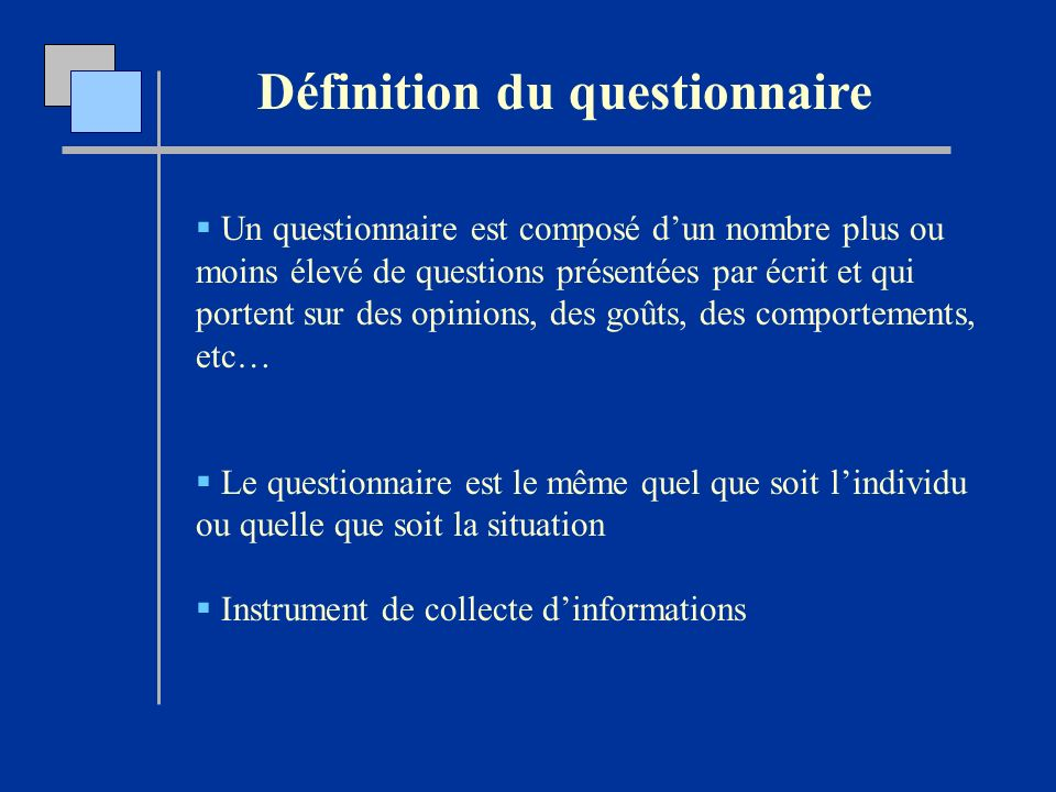 L laboration d un questionnaire d interview ppt video for Portent definition