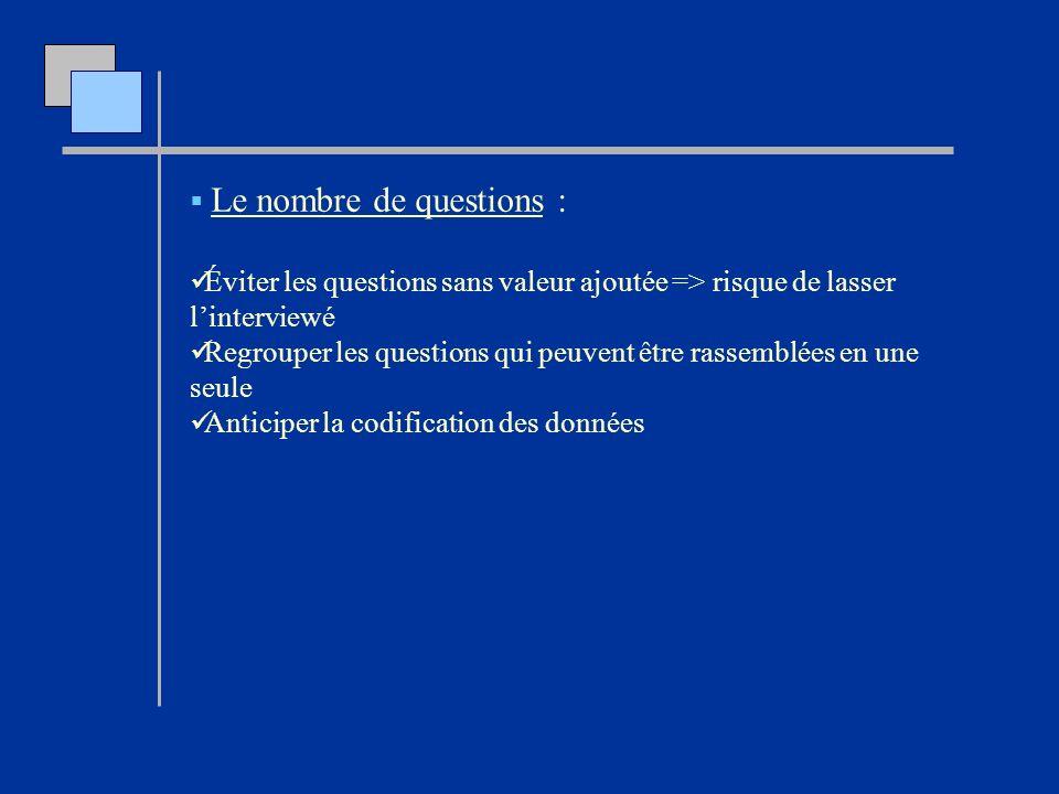 Le nombre de questions :